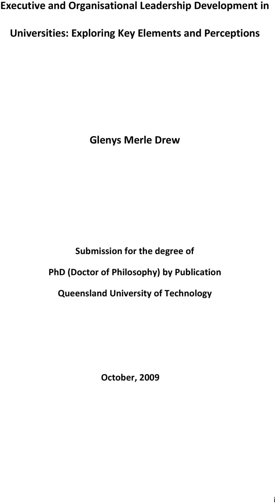 Merle Drew Submission for the degree of PhD (Doctor of
