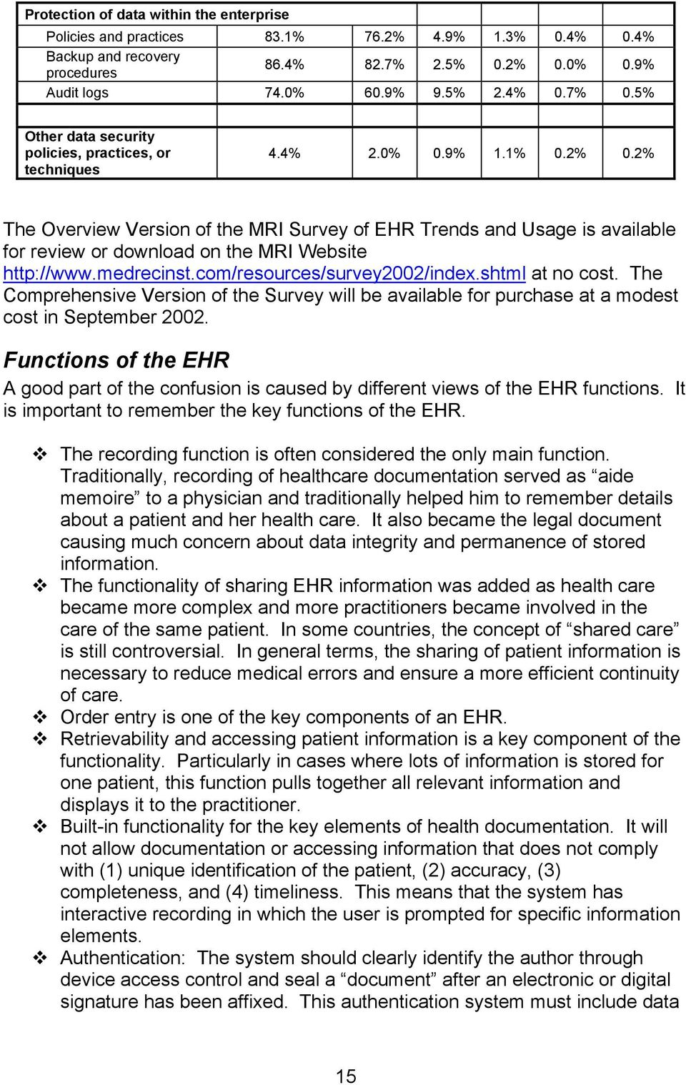 2% The Overview Version of the MRI Survey of EHR Trends and Usage is available for review or download on the MRI Website http://www.medrecinst.com/resources/survey2002/index.shtml at no cost.