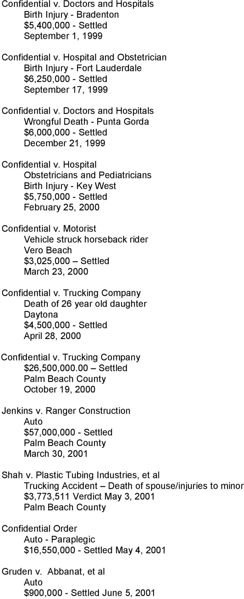 Motorist Vehicle struck horseback rider Vero Beach $3,025,000 Settled March 23, 2000 v. Trucking Company Death of 26 year old daughter Daytona $4,500,000 - Settled April 28, 2000 v.