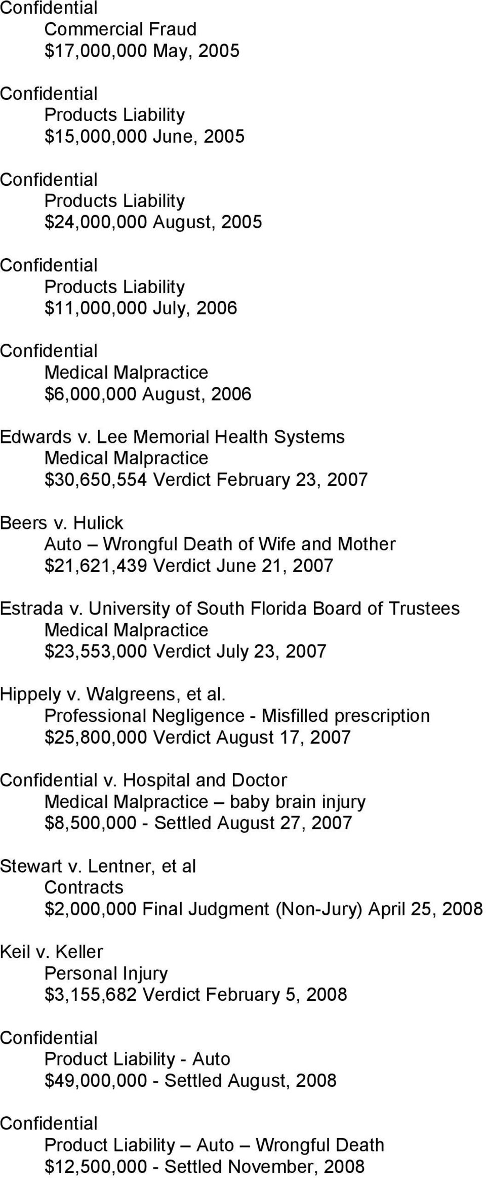 Hulick Auto Wrongful Death of Wife and Mother $21,621,439 Verdict June 21, 2007 Estrada v.
