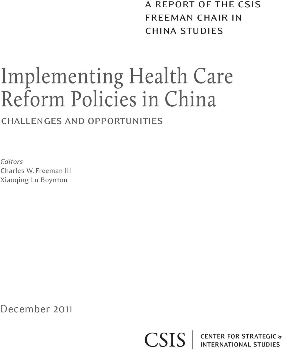 in China challenges and opportunities Editors