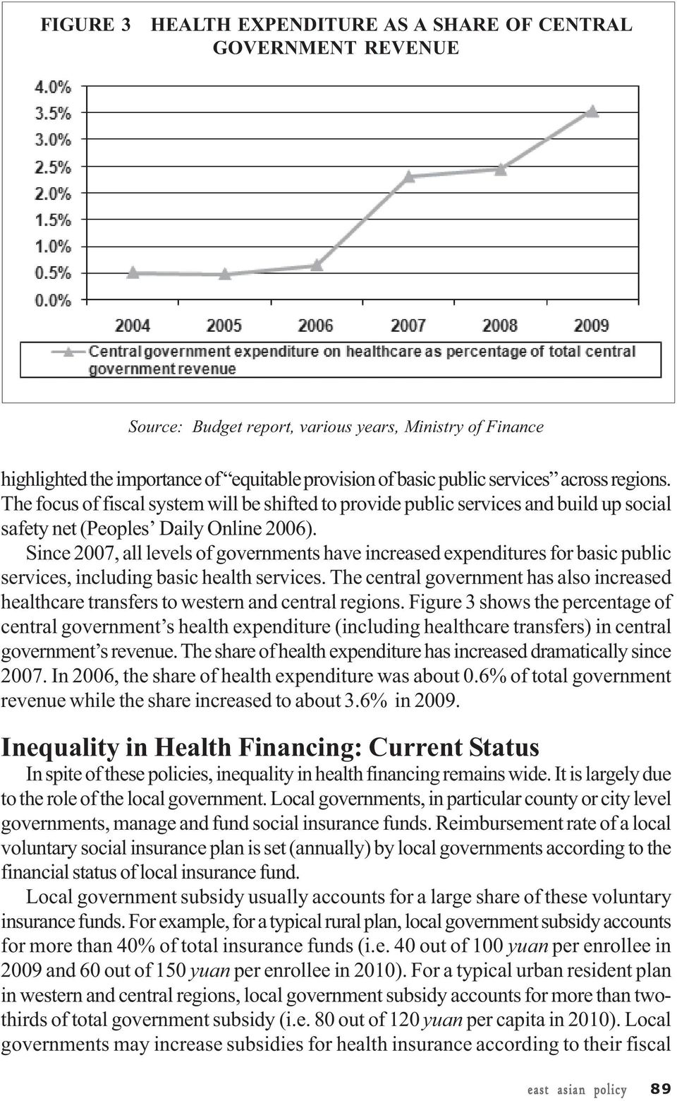 Since 2007, all levels of governments have increased expenditures for basic public services, including basic health services.