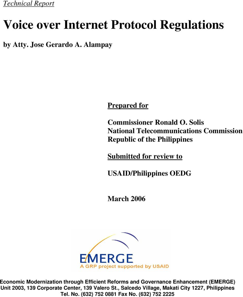 Solis National Telecommunications Commission Republic of the Philippines Submitted for review to USAID/Philippines OEDG