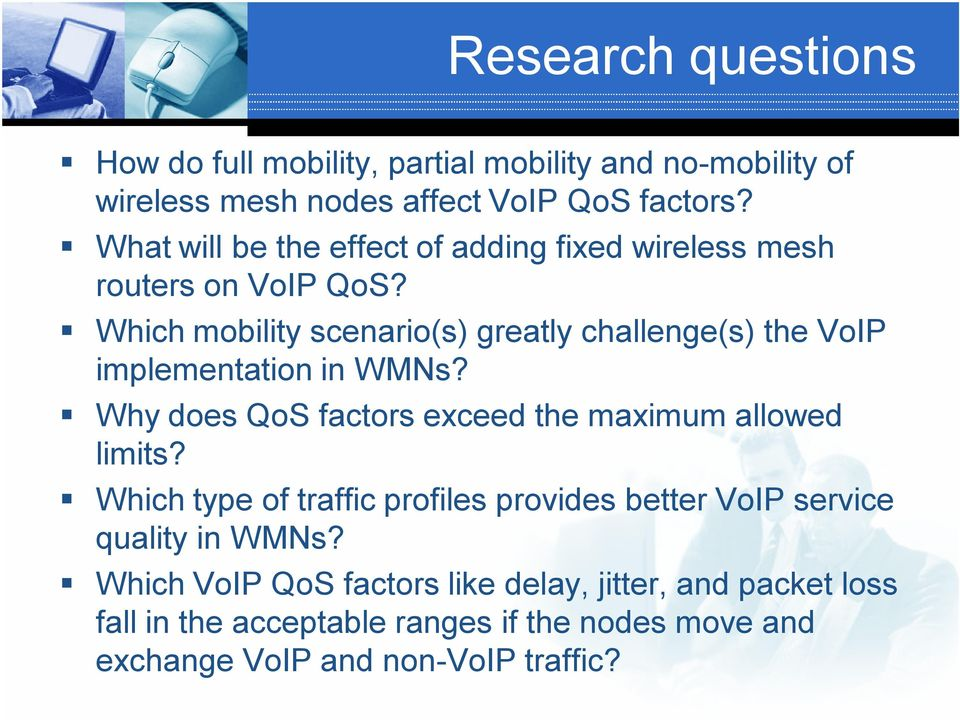 Which mobility scenario(s) greatly challenge(s) the VoIP implementation in WMNs? Why does QoS factors exceed the maximum allowed limits?