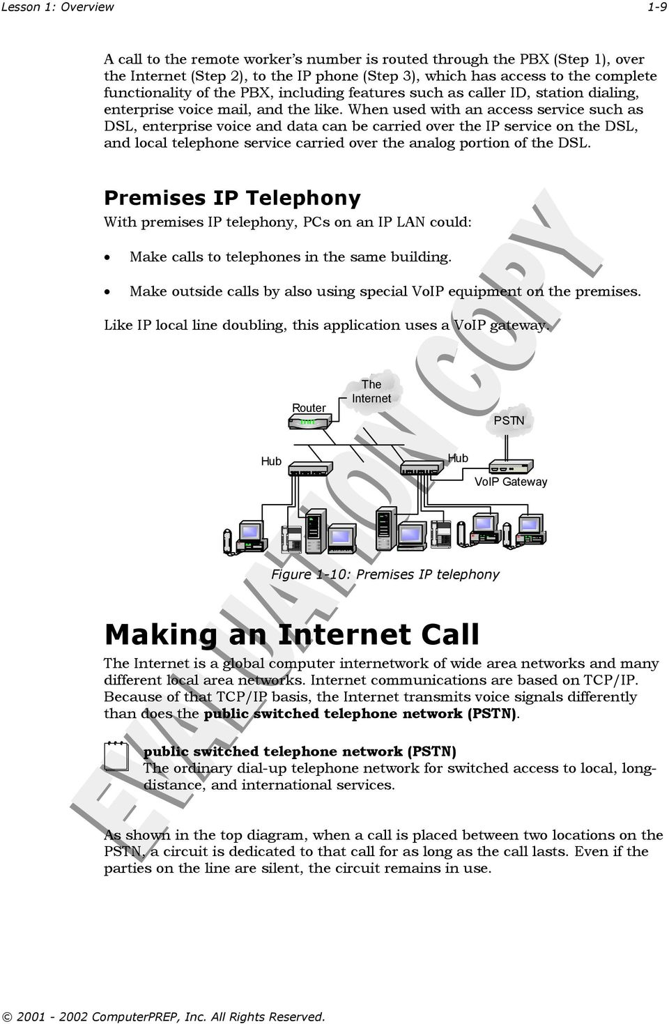 When used with an access service such as DSL, enterprise voice and data can be carried over the IP service on the DSL, and local telephone service carried over the analog portion of the DSL.