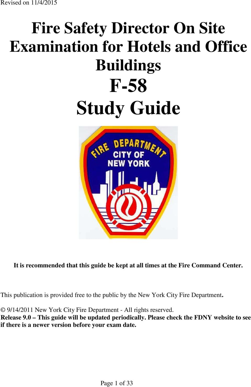 This publication is provided free to the public by the New York City Fire Department.