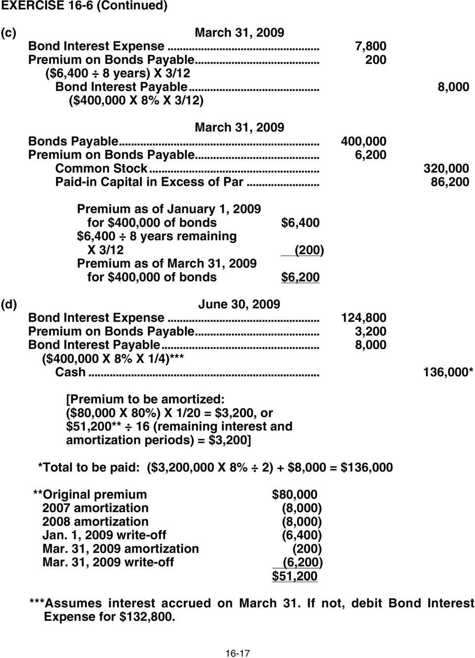 .. 86,200 Premium as of January 1, 2009 for $400,000 of bonds $6,400 $6,400 8 years remaining X 3/12 (200) Premium as of March 31, 2009 for $400,000 of bonds $6,200 (d) June 30, 2009 Bond Interest