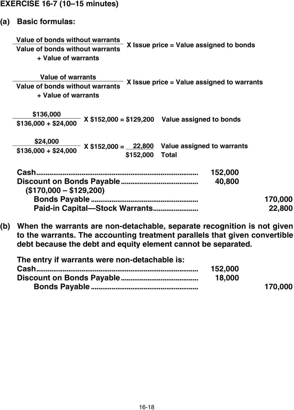 $152,000 = 22,800 $152,000 Value assigned to warrants Total Cash... 152,000 Discount on Bonds Payable... 40,800 ($170,000 $129,200) Bonds Payable... 170,000 Paid-in Capital Stock Warrants.