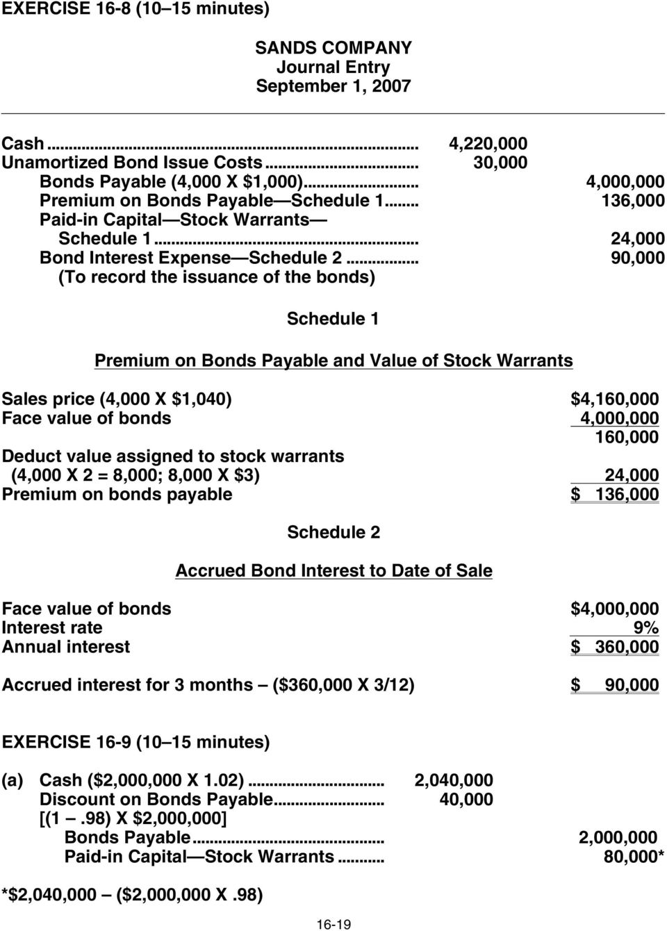 .. 90,000 (To record the issuance of the bonds) Schedule 1 Premium on Bonds Payable and Value of Stock Warrants Sales price (4,000 X $1,040) $4,160,000 Face value of bonds 4,000,000 160,000 Deduct