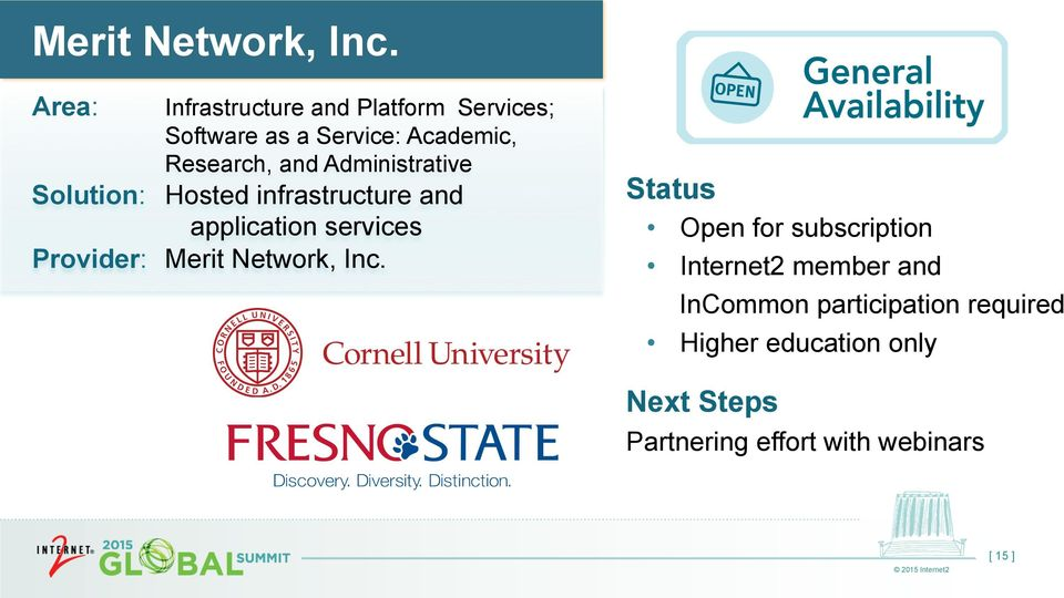 Administrative Solution: Hosted infrastructure and application services Provider:  Open