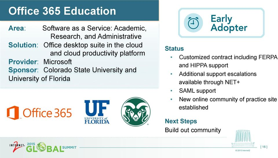 University of Florida Customized contract including FERPA and HIPPA support Additional support escalations