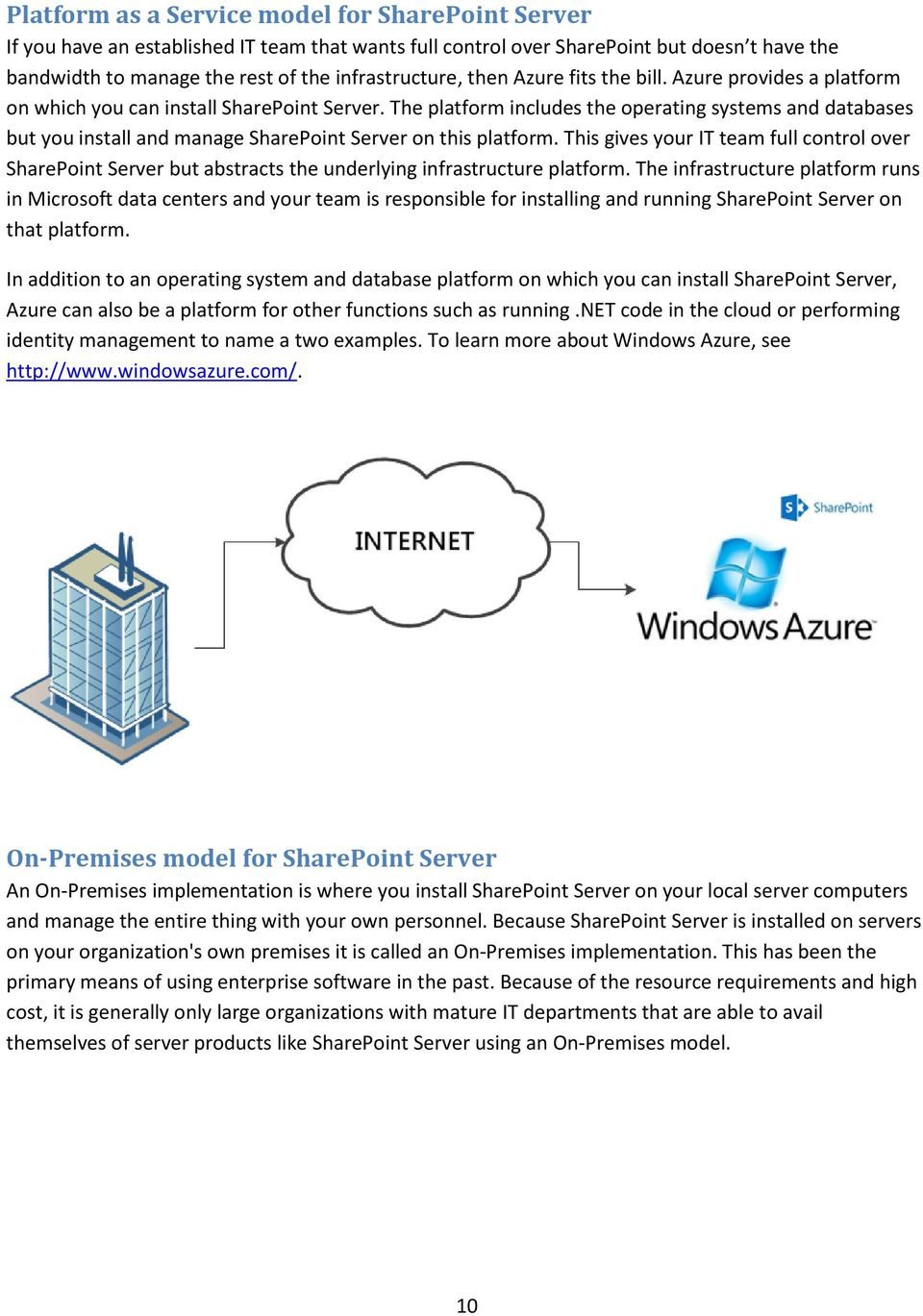 The platform includes the operating systems and databases but you install and manage SharePoint Server on this platform.