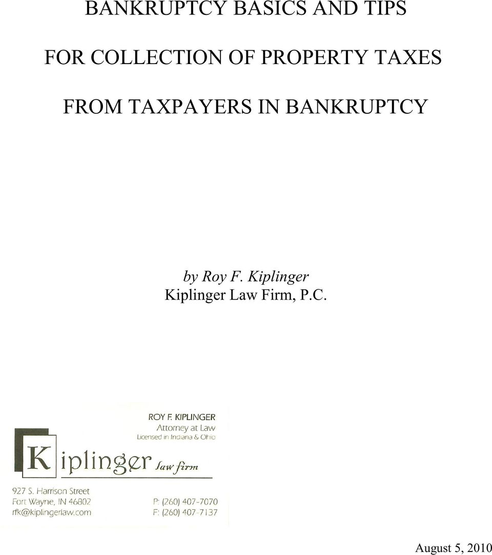 TAXPAYERS IN BANKRUPTCY by Roy F.