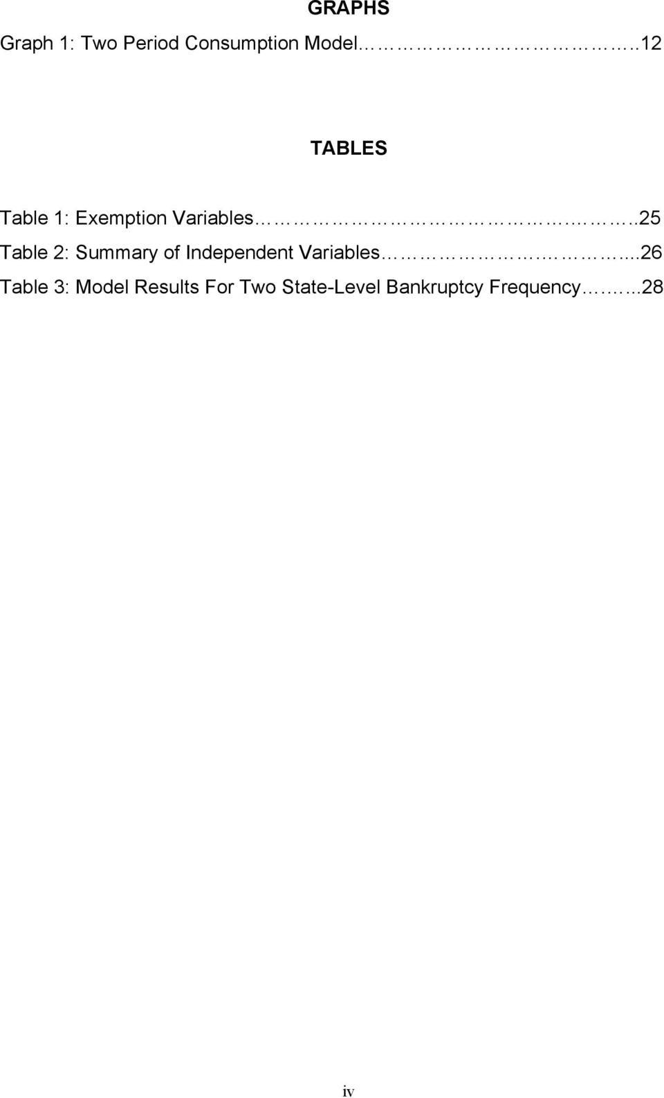 ..25 Table 2: Summary of Independent Variables.