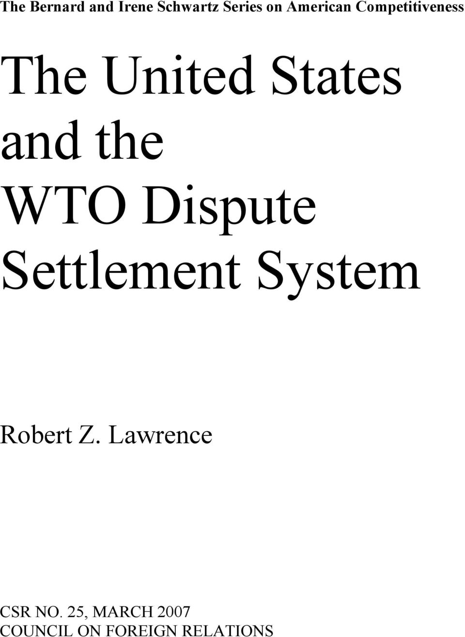 the WTO Dispute Settlement System Robert Z.