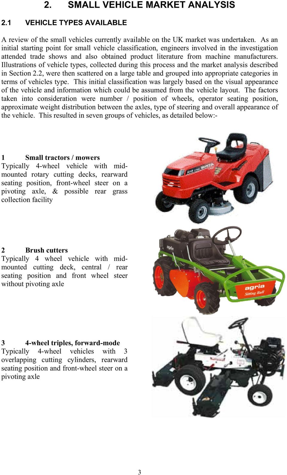Illustrations of vehicle types, collected during this process and the market analysis described in Section 2.