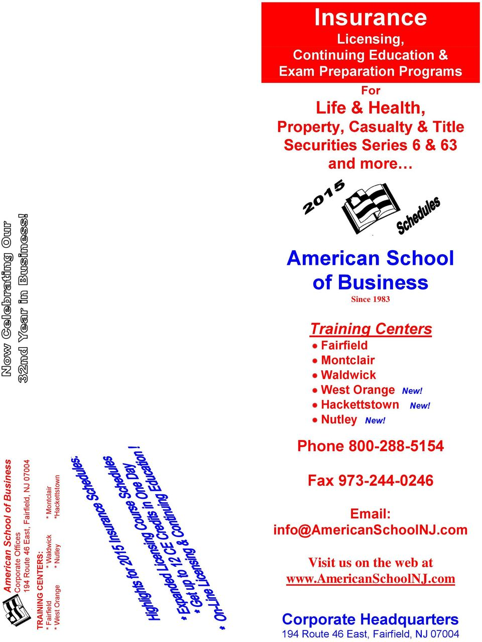 Since 1983 Training Centers Fairfield Montclair Waldwick West Orange New! Hackettstown New! Nutley New!