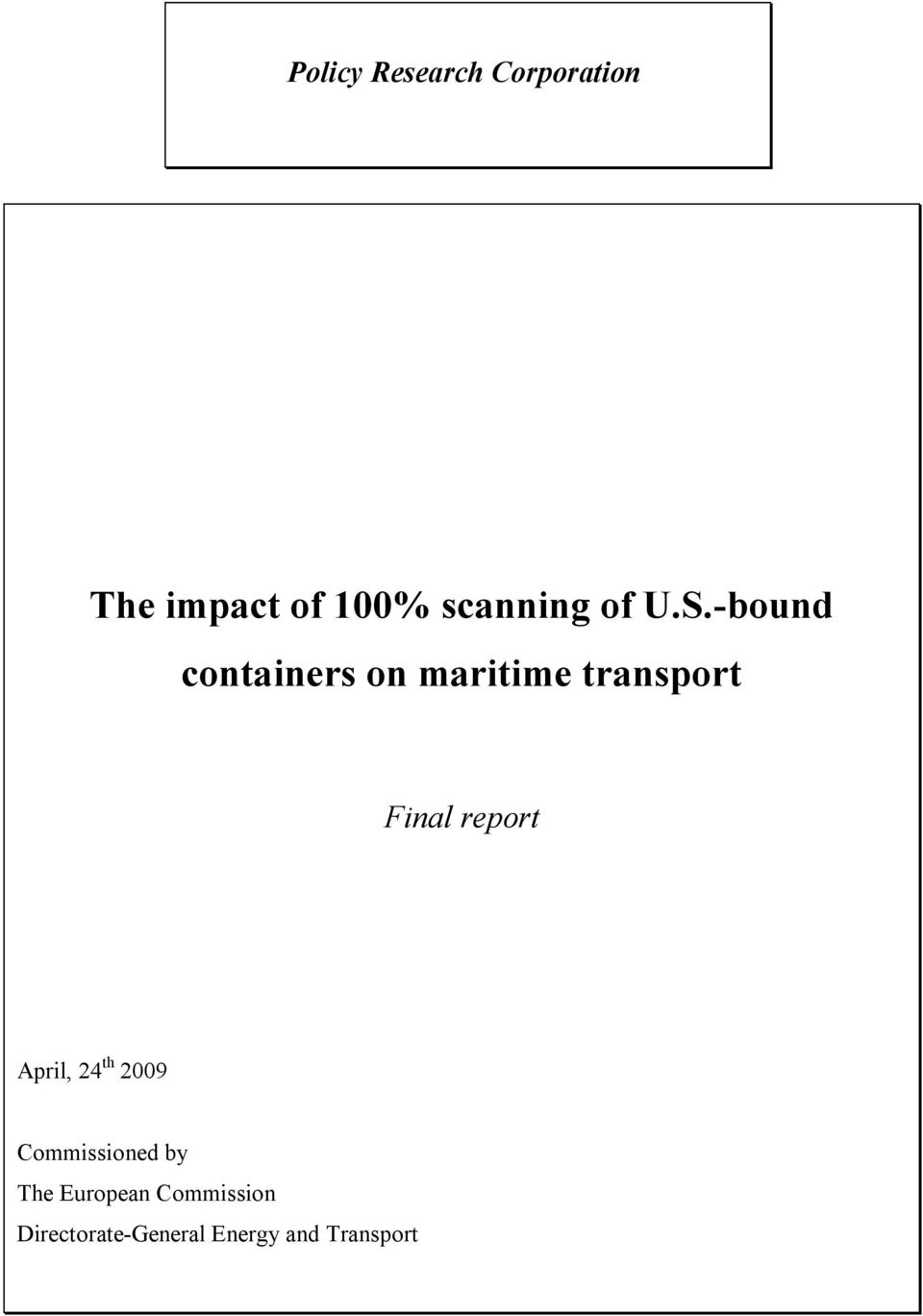 -bound containers on maritime transport Final report