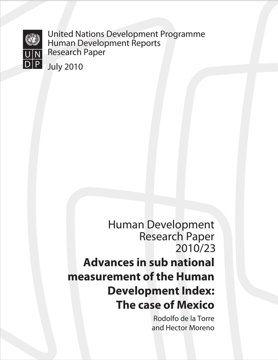 2010/23 Advances in sub national measurement of the Human