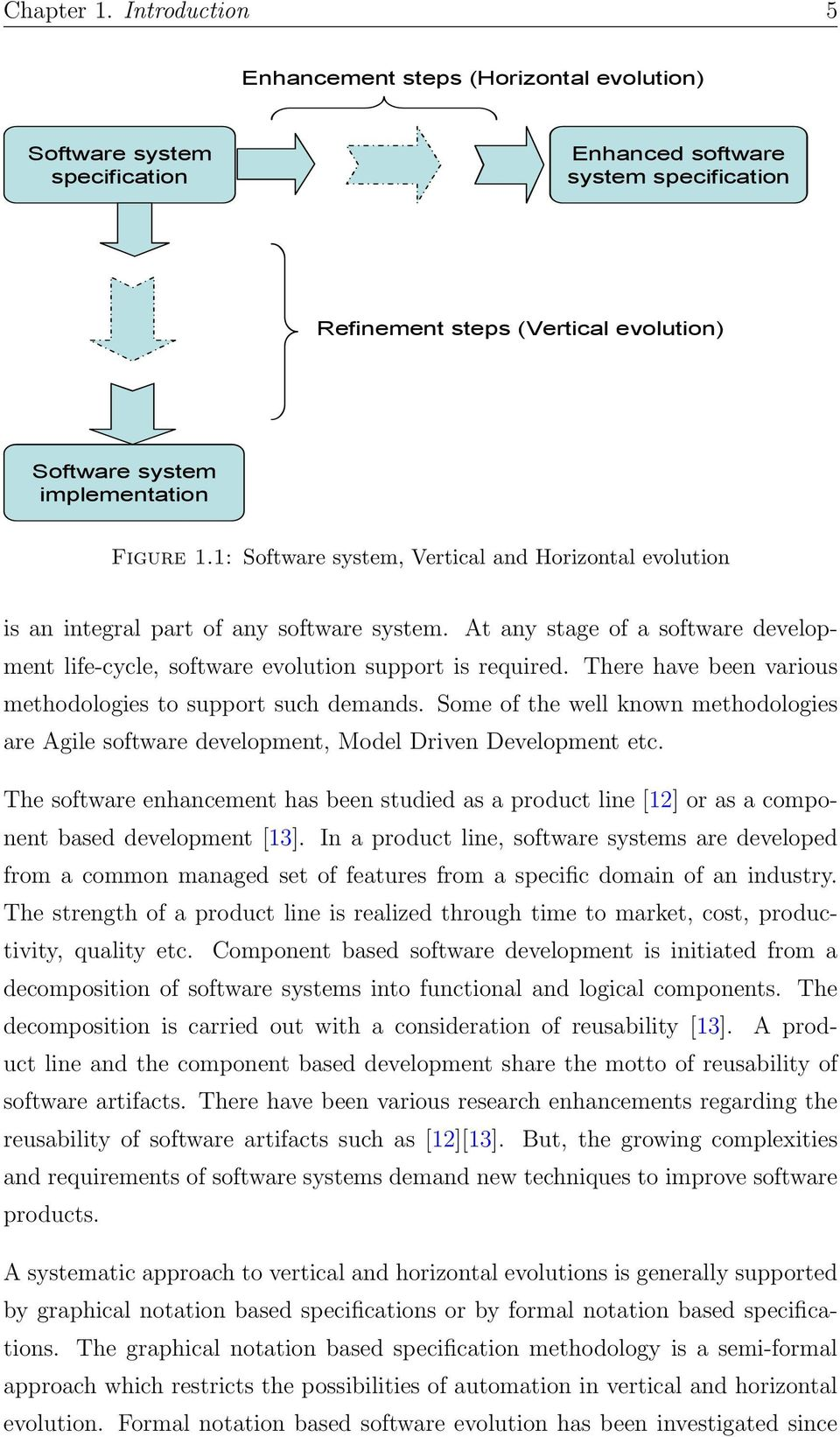 Figure 1.1: Software system, Vertical and Horizontal evolution is an integral part of any software system. At any stage of a software development life-cycle, software evolution support is required.