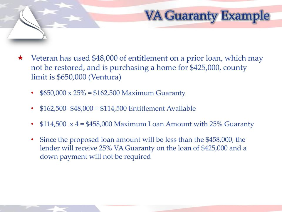 Entitlement Available $114,500 x 4 = $458,000 Maximum Loan Amount with 25% Guaranty Since the proposed loan amount will