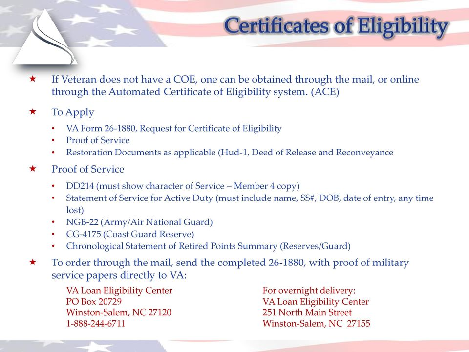 character of Service Member 4 copy) Statement of Service for Active Duty (must include name, SS#, DOB, date of entry, any time lost) NGB-22 (Army/Air National Guard) CG-4175 (Coast Guard Reserve)