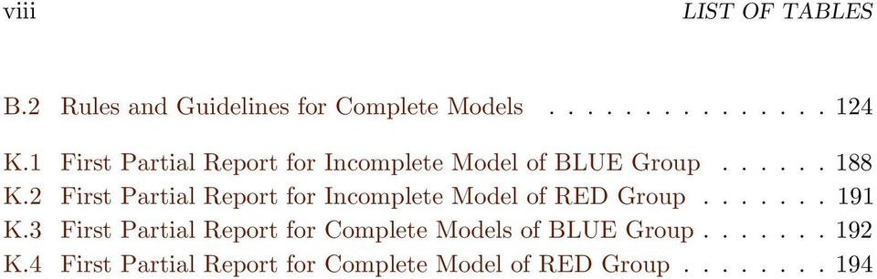 2 First Partial Report for Incomplete Model of RED Group....... 191 K.
