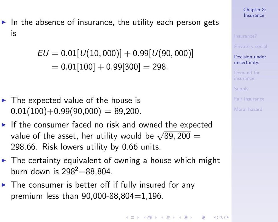 If the consumer faced no risk and owned the expected value of the asset, her utility would be 89, 200 = 298.66.