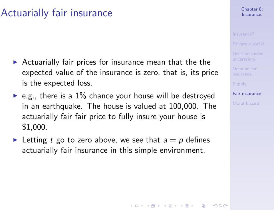 , there is a 1% chance your house will be destroyed in an earthquake. The house is valued at 100,000.