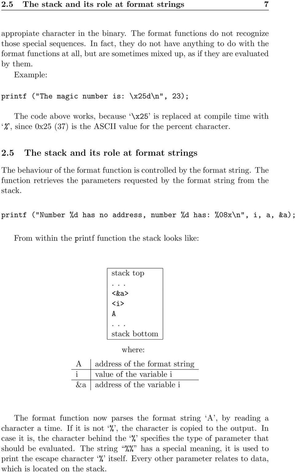 "Example: printf (""The magic number is: \x25d\n"", 23); The code above works, because \x25 is replaced at compile time with %, since 0x25 (37) is the ASCII value for the percent character. 2.5 The stack and its role at format strings The behaviour of the format function is controlled by the format string."