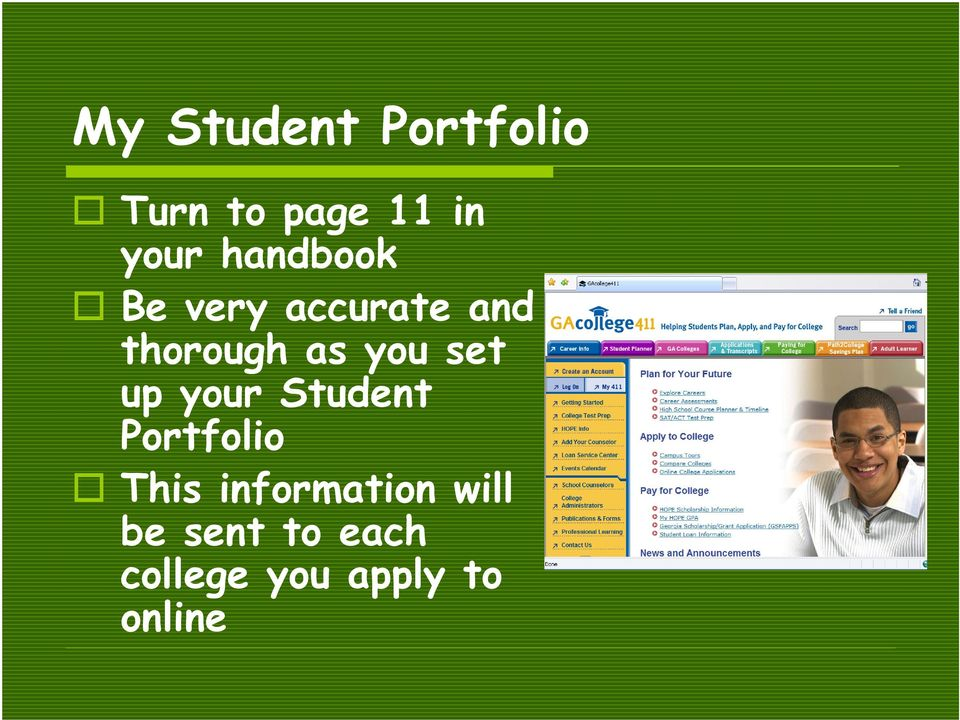 set up your Student Portfolio This information