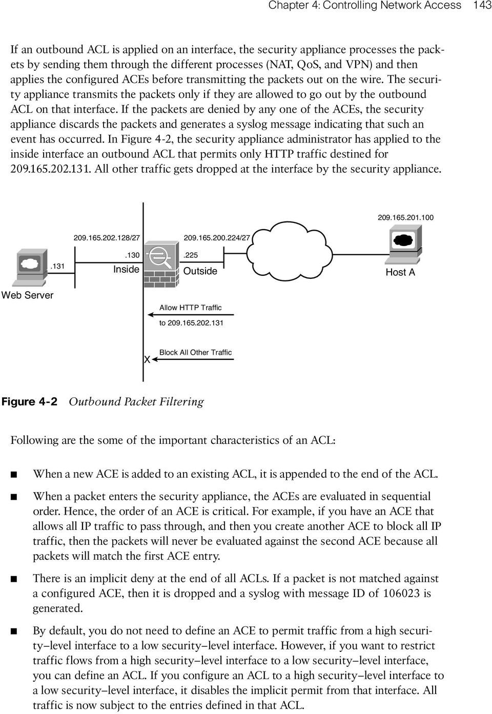 The security appliance transmits the packets only if they are allowed to go out by the outbound ACL on that interface.