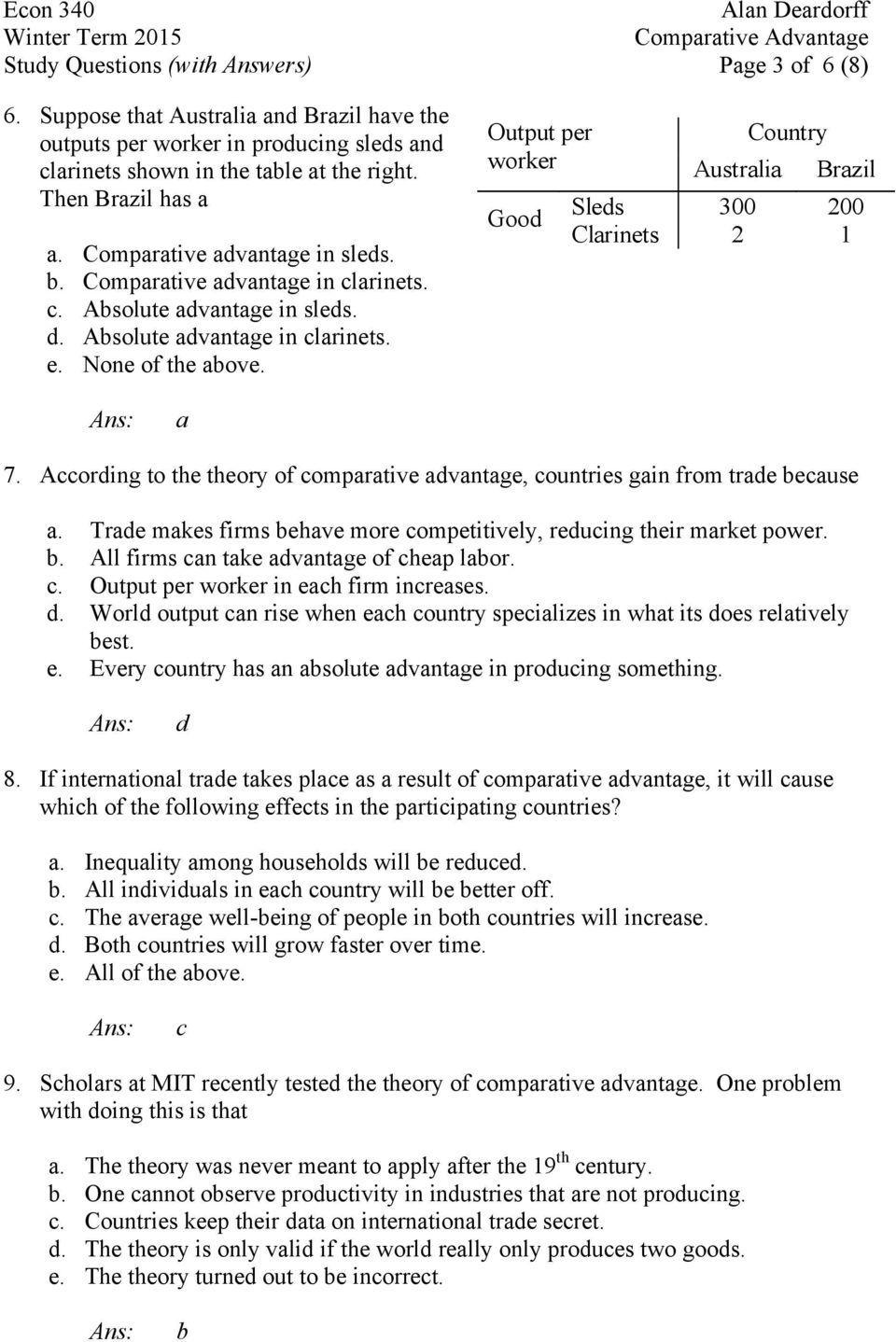 worksheet Comparative Advantage Worksheet study questions with answers lecture 3 comparative advantage and output per worker australia brazil sleds 300 200 good clarinets 2 1 a 7 according