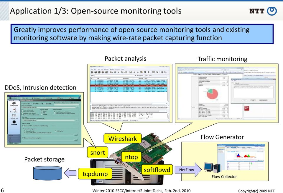 Packet analysis Traffic monitoring DDoS, Intrusion detection Wireshark Flow Generator Packet