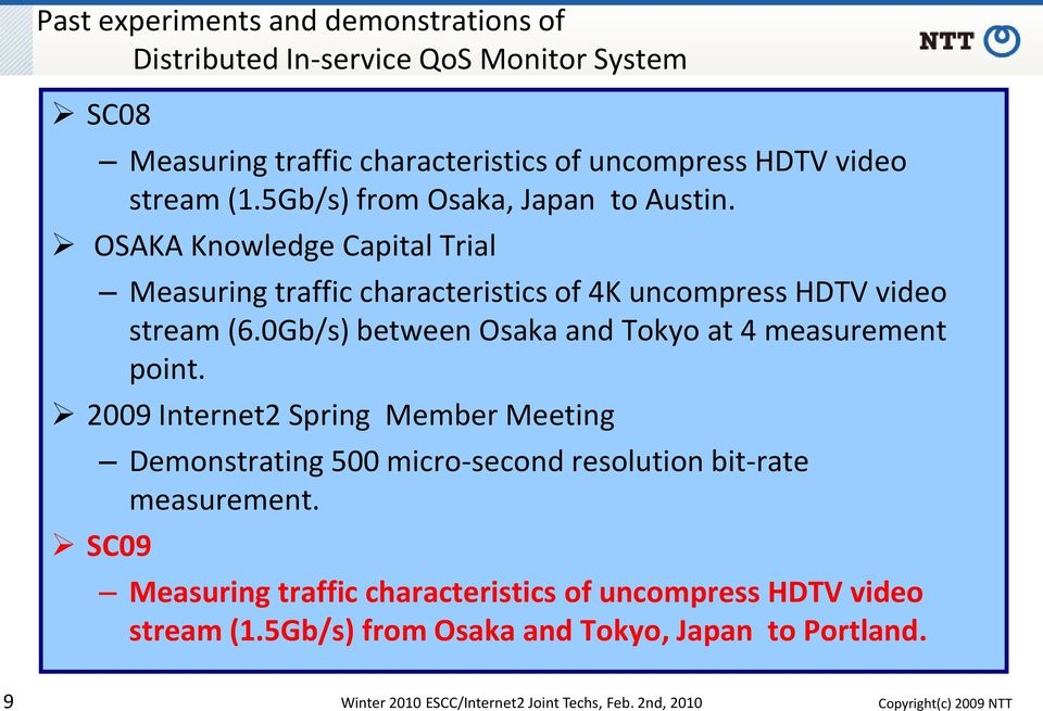 0Gb/s) between Osaka and Tokyo at 4 measurement point. 2009 Internet2 Spring Member Meeting Demonstrating 500 micro-second resolution bit-rate measurement.