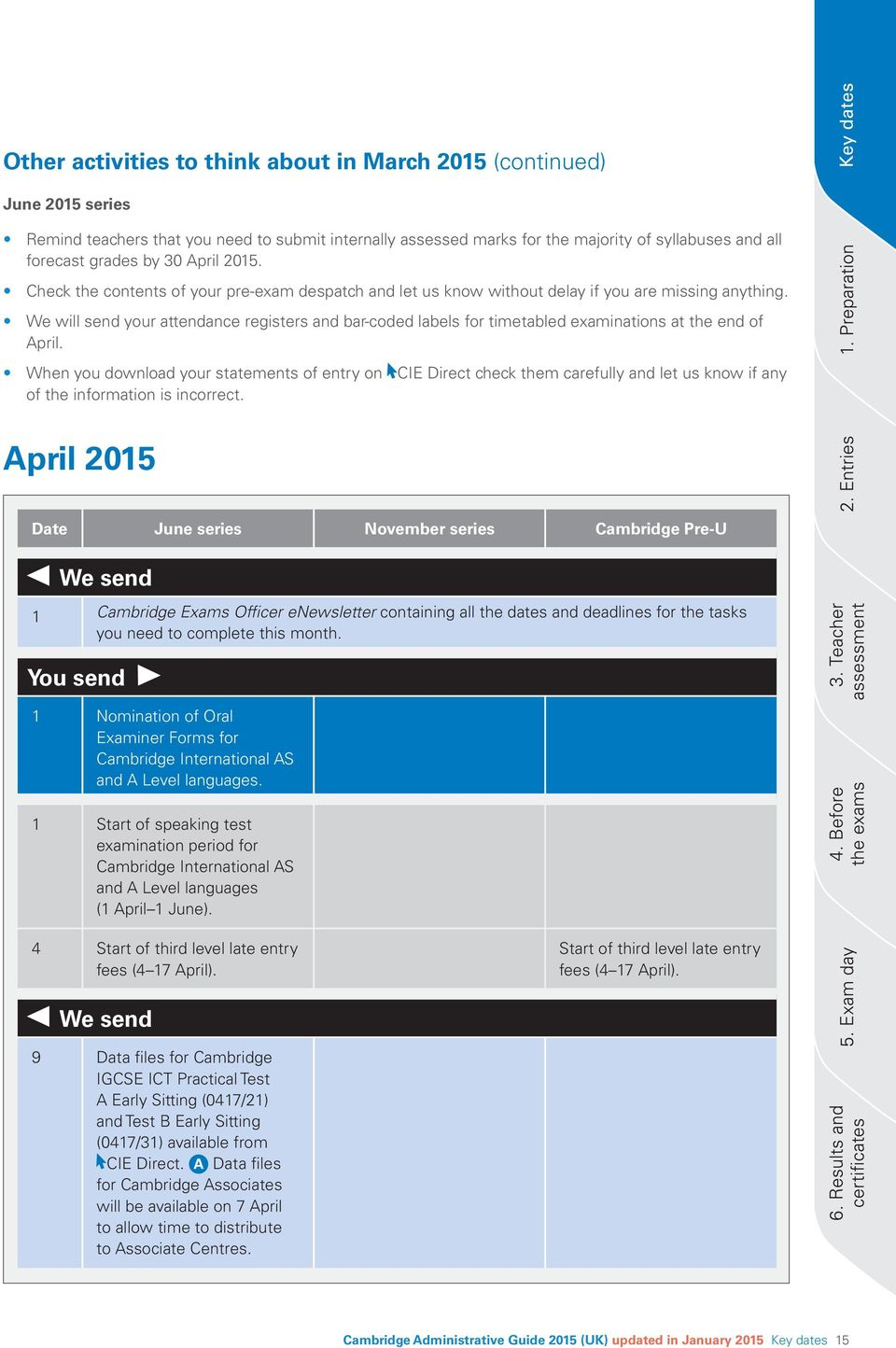 We will send your attendance registers and bar-coded labels for timetabled examinations at the end of April.