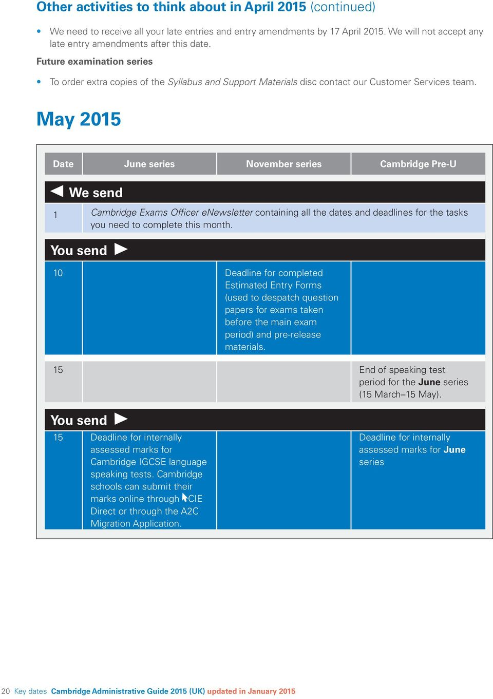 May 2015 Date June series November series Cambridge Pre-U We send 1 Cambridge Exams Officer enewsletter containing all the dates and deadlines for the tasks you need to complete this month.