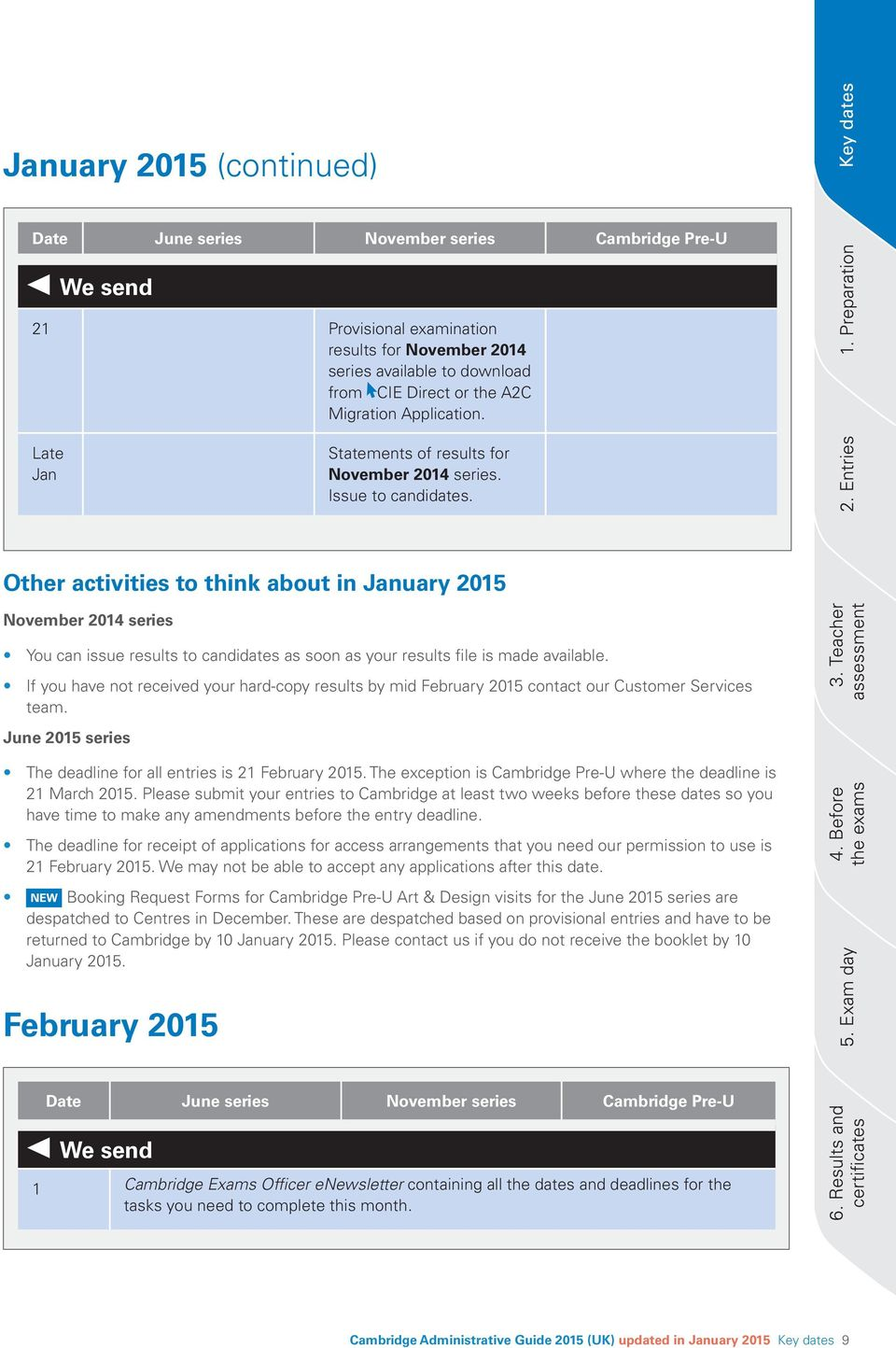 Other activities to think about in January 2015 November 2014 series You can issue results to candidates as soon as your results file is made available.