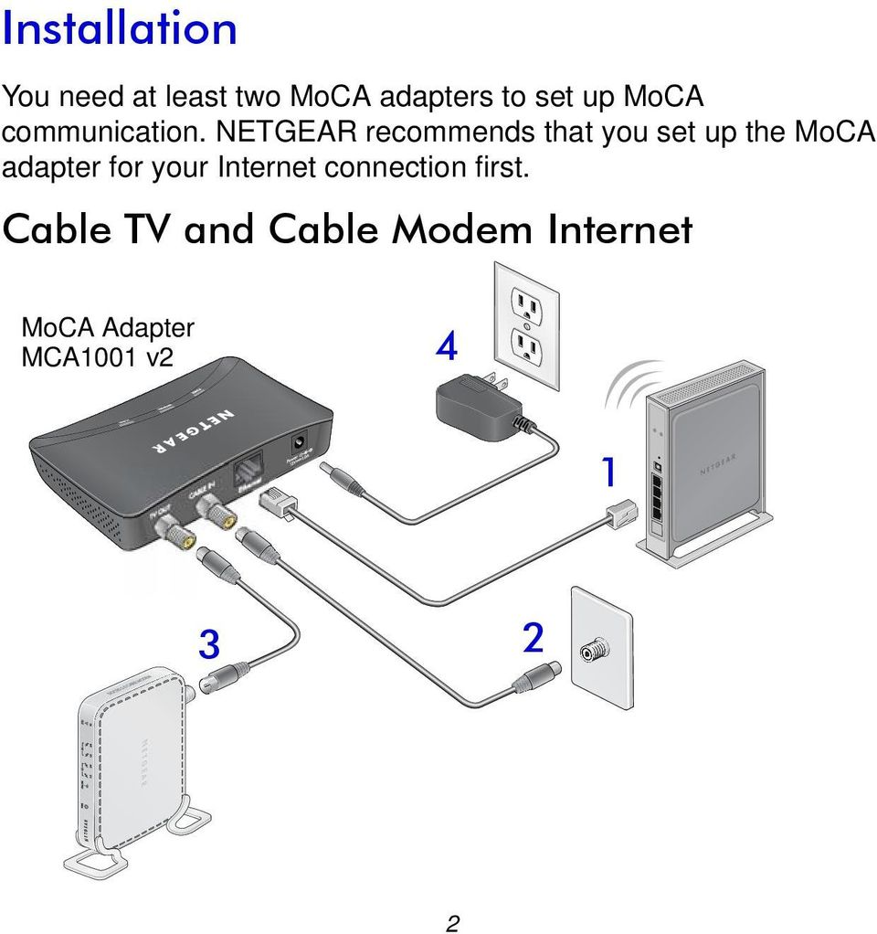 NETGEAR recommends that you set up the MoCA adapter for