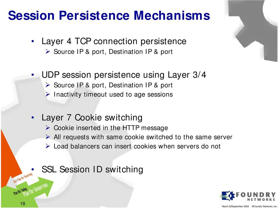 age sessions Layer 7 Cookie switching Cookie inserted in the HTTP message All requests with same cookie
