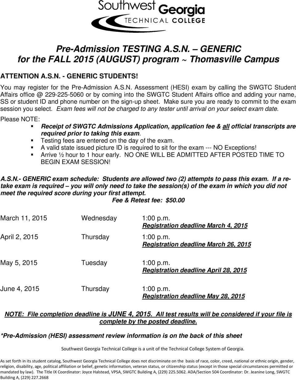GENERIC for the FALL 2015 (AUGUST) program ~ Thomasville Campus ATTENTION  - GENERIC STUDENTS!