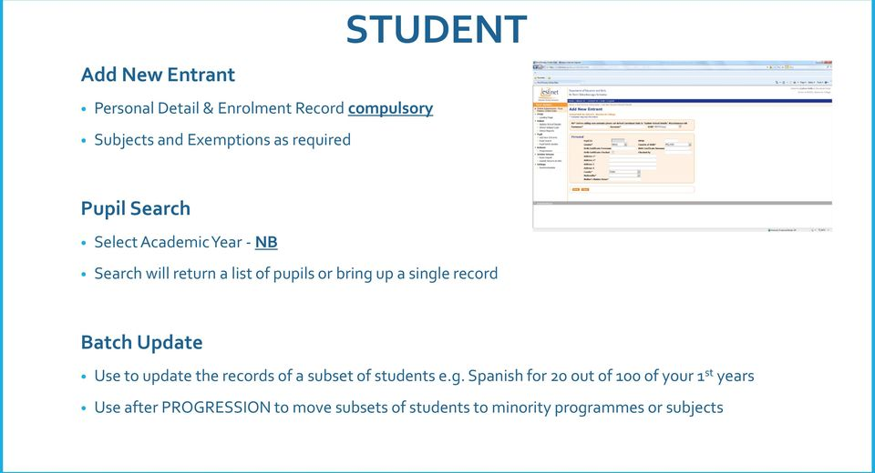 single record Batch Update Use to update the records of a subset of students e.g. Spanish for 20 out