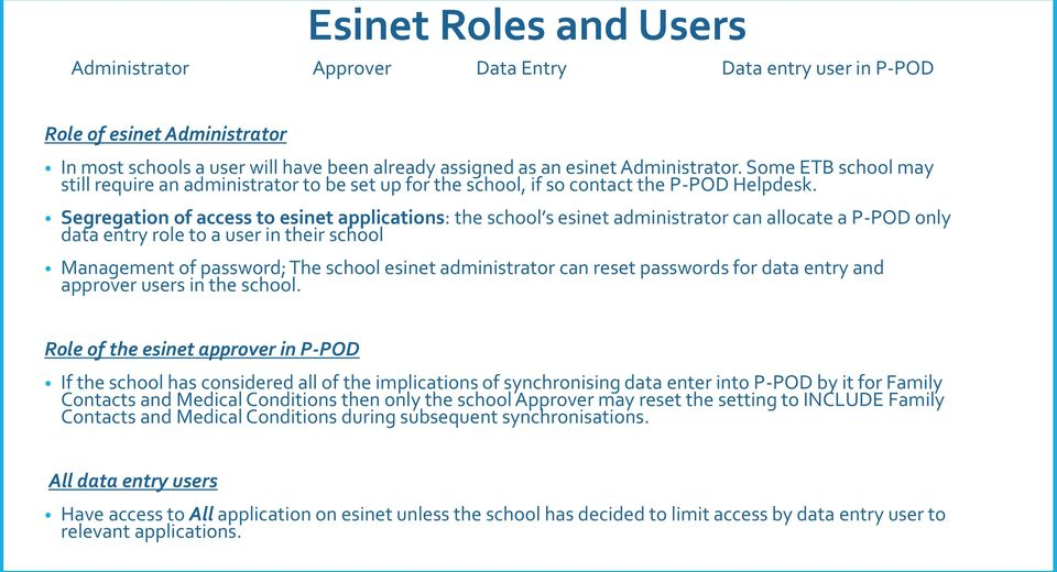 Segregation of access to esinet applications: the school s esinet administrator can allocate a P-POD only data entry role to a user in their school Management of password; The school esinet