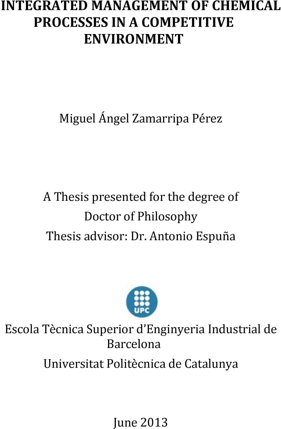Philosophy Thesis advisor: Dr.