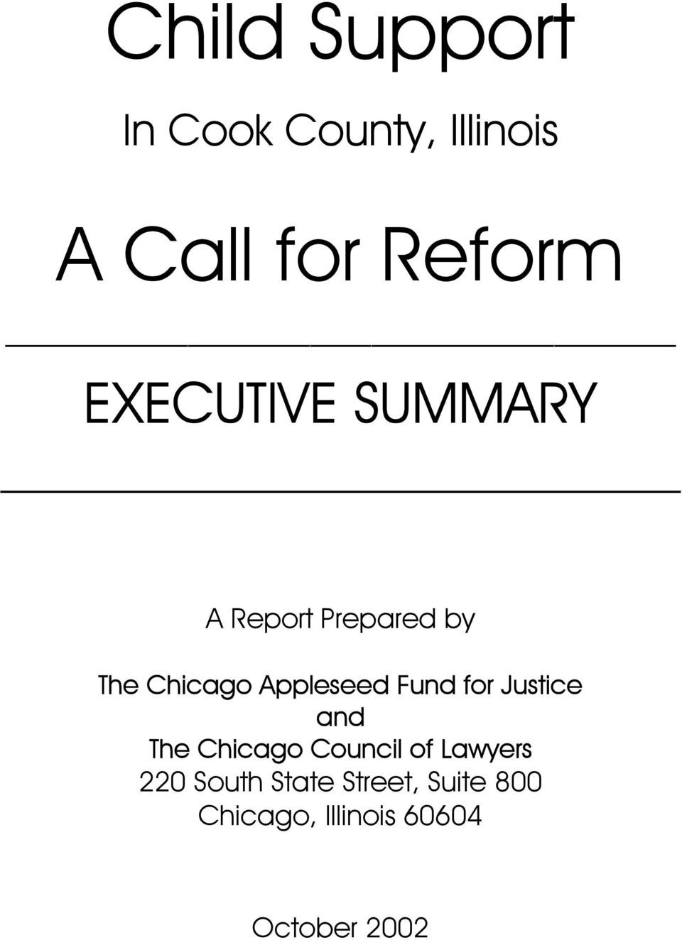 Appleseed Fund for Justice and The Chicago Council of