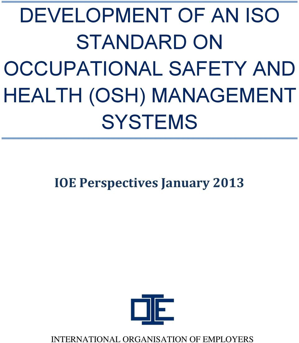 MANAGEMENT SYSTEMS IOE Perspectives