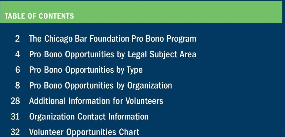 8 Pro Bono Opportunities by Organization 28 Additional Information for
