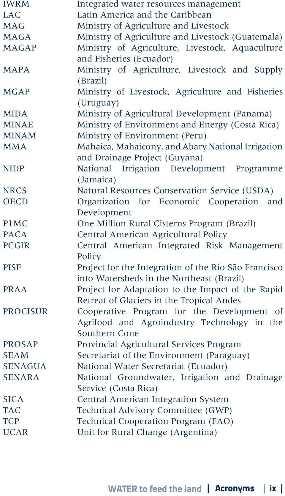 of Agricultural Development (Panama) MINAE Ministry of Environment and Energy (Costa Rica) MINAM Ministry of Environment (Peru) MMA Mahaica, Mahaicony, and Abary National Irrigation and Drainage