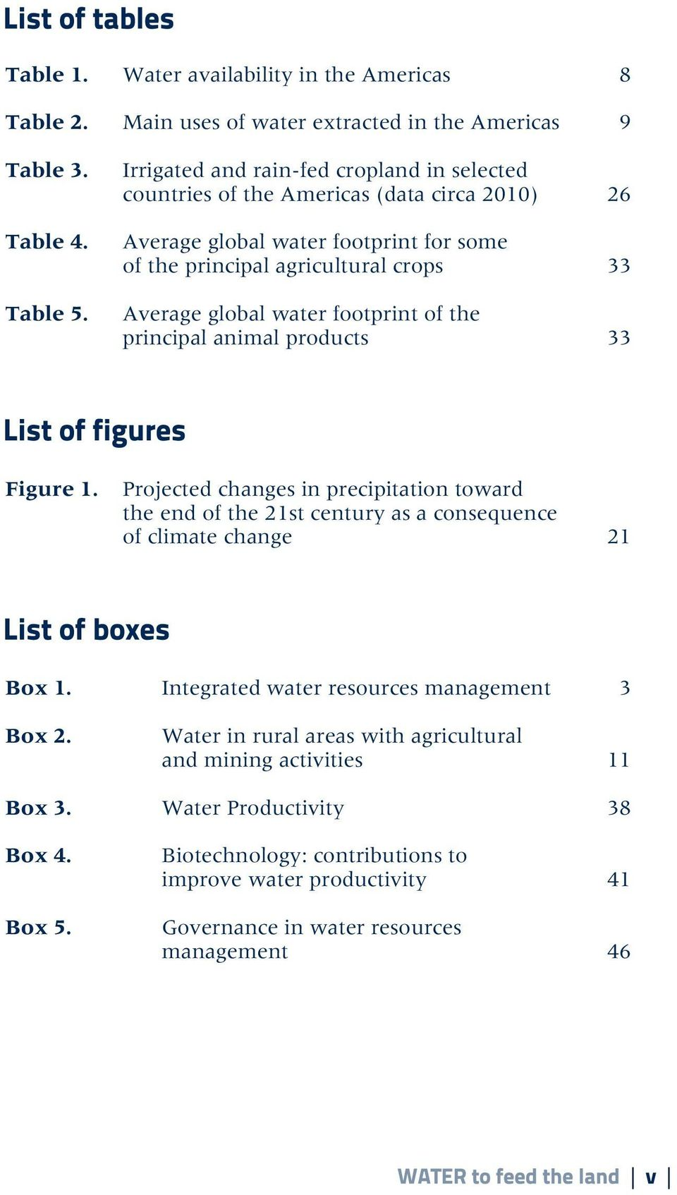 water footprint of the principal animal products 33 Figure 1. Projected changes in precipitation toward the end of the 21st century as a consequence of climate change 21 Box 1.