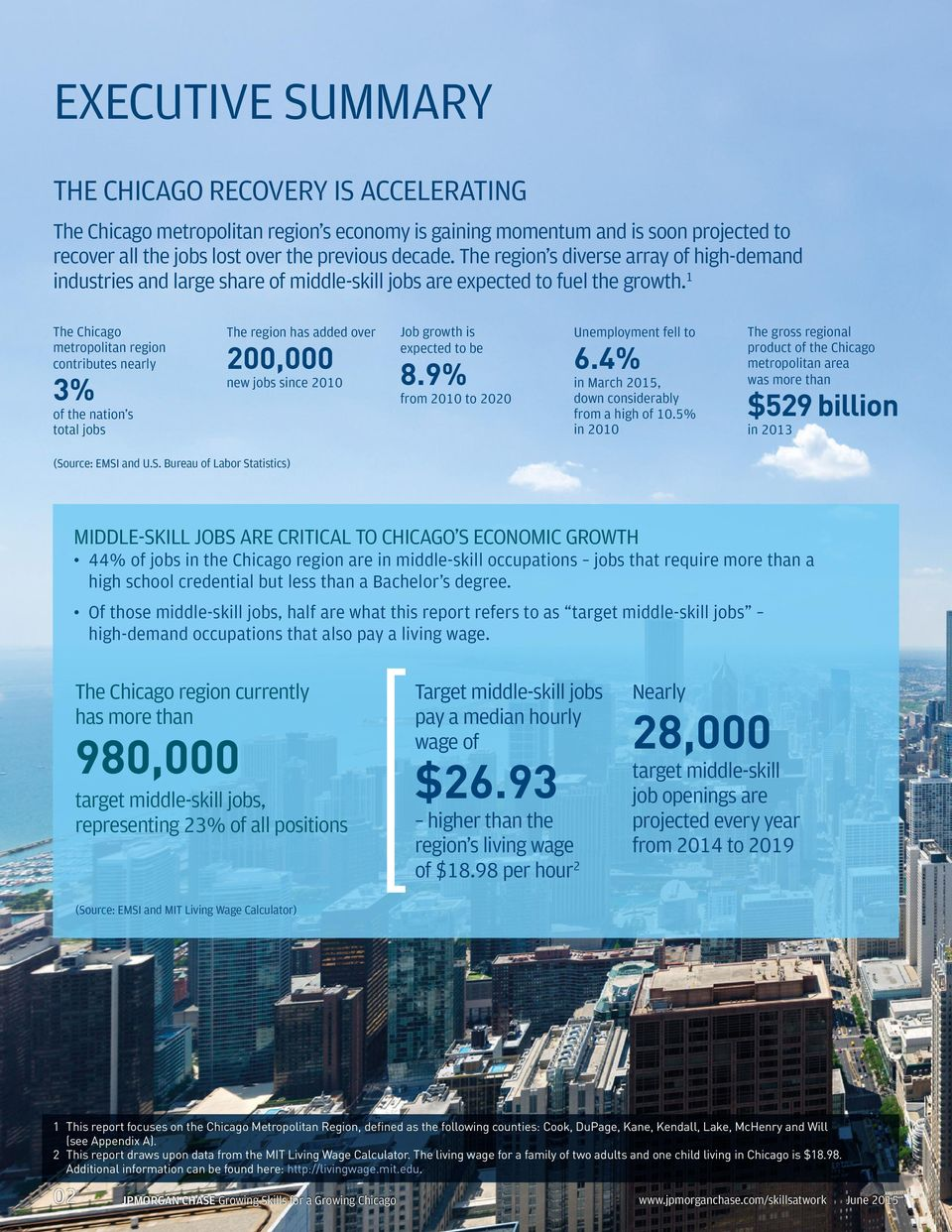 1 The Chicago metropolitan region contributes nearly 3% of the nation s total jobs The region has added over 200,000 new jobs since 2010 Job growth is expected to be 8.
